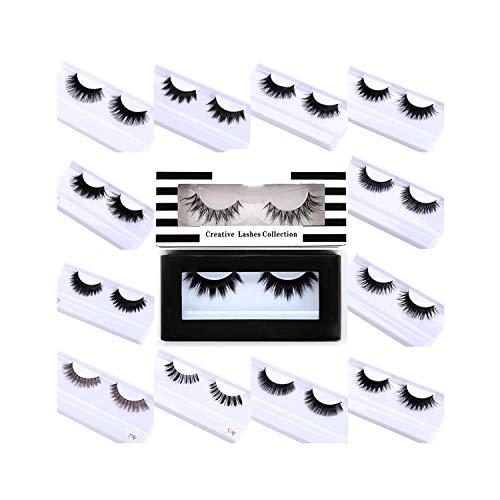 Makeup False Eyelashes Mink Lashes Faux Cils Maquiagem Eyelash Wispy Lashes Fake eyelashes Hand Made Natural Long,C,Mix,A59 ()