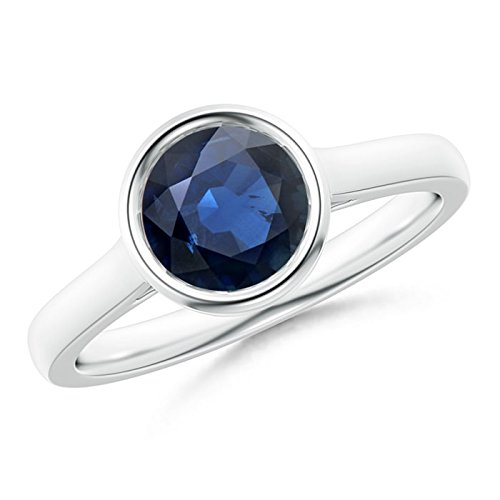 Classic Bezel-Set Round Blue Sapphire Solitaire Ring in 14K White Gold (7mm Blue Sapphire)