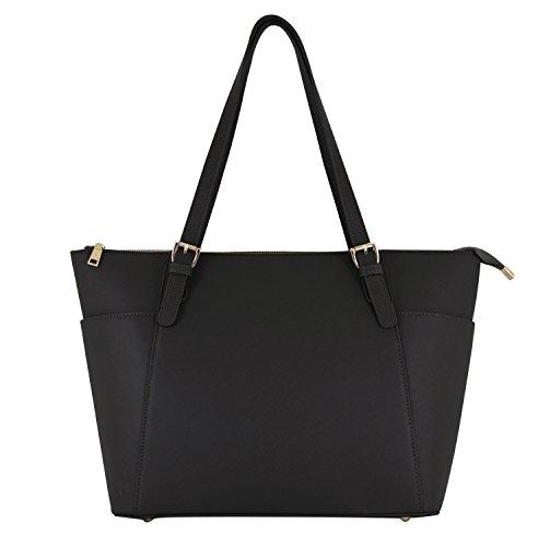 Vanessa & Melissa Damen Handtasche Kunstleder TÜV geprüft groß Saffiano Shopping Bag A4 sale Tasche 1schwarz
