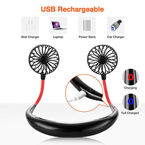 LUWATT Portable Fan, Hand Free Small Personal Mini USB Fan 2000mAh Rechargeable Battery Operated Neck Fan 12H Working Hours 3 Speeds 360 Degree Adjustment Head for Office Travel Outdoor Camping(Black)