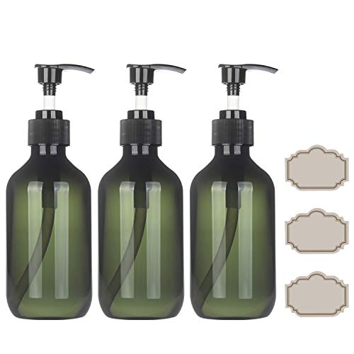 10 Ounce Pump Dispenser - YILOVE Plastic Pump Bottle Dispenser for Shampoo, 10 oz Liquid Soap Dispenser for Bathroom or Kitchen, 3-Pack (Green)