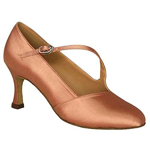 Ballroom Shoesland Heel Women's Almond Latin Toe Tango Shoes Dance Salsa Round Chunky W972 Dance ZZqr18