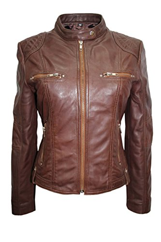 SPEED Ladies 8322 Brown Fashion Cool Retro Biker Style Motorcycle Leather Jacket (4)