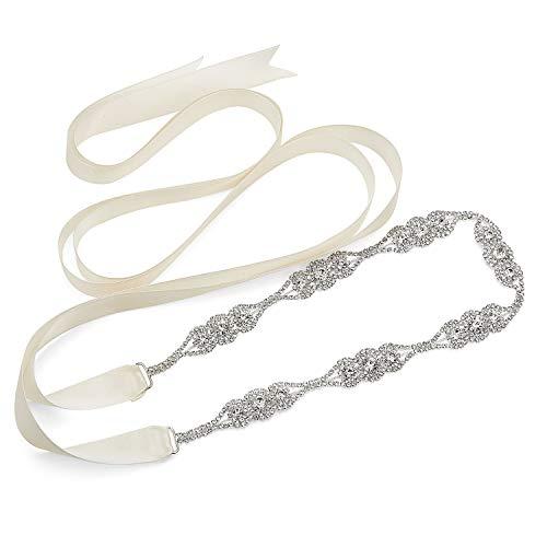SWEETV Rhinestone Bridal Belt Wedding Belt Sash Crystal Headband for Women Dress Gown Accessories, Silver]()
