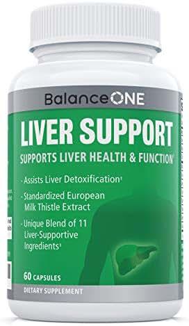 Liver Support by Balance ONE - 11 Antioxidant Ingredients to Promote Liver Health - Milk Thistle, NAC, Molybdenum, Dandelion, Artichoke - Vegan, Non-GMO - 30 Day Supply
