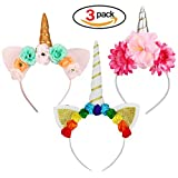 Unicorn Headbands with Horn and Ears Flowers 3Pcs Unicorn Headdress for Birthday Party Cosplay Costume