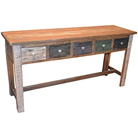 Rustic Solid Wood Multi Drawer Console Table Sofa Table Hallway Table