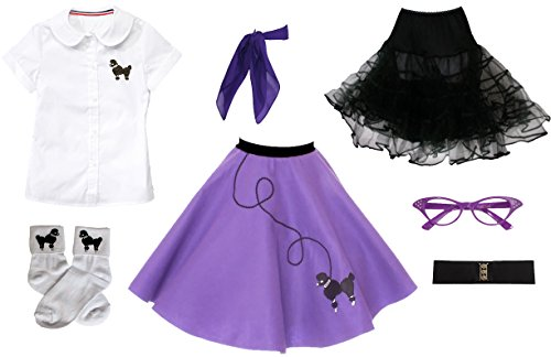 Hip Hop 50s Shop 7 Piece Child Poodle Skirt Outfit, Size 12 -