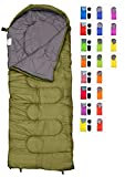 REVALCAMP Sleeping Bag for Cold Weather - 4 Season Envelope Shape Bags by Great for Kids, Teens & Adults. Warm and Lightweight - Perfect for Hiking, Backpacking & Camping (Olive - Envelope Right Zip)