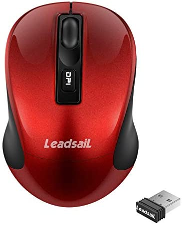 LeadsaiL Wireless Computer Mouse, 2.4G Portable Slim Cordless Mouse Less Noise for Laptop Optical Mouse with 4 Buttons, AA Battery Included, USB Mouse for Laptop, Deskbtop, MacEbook (Red)