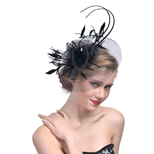 Malbaba Women's Fascinator Hats Feather Hair Accessories Clip and Headband for Wedding Prom Cocktail Tea Party (b) ()