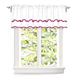 "DriftAway Pom Pom Ruffle Window Curtain Valance for Kids Room, Rod Pocket, One Panel, 52""x18"" Plus 2'' Header (Pink)"