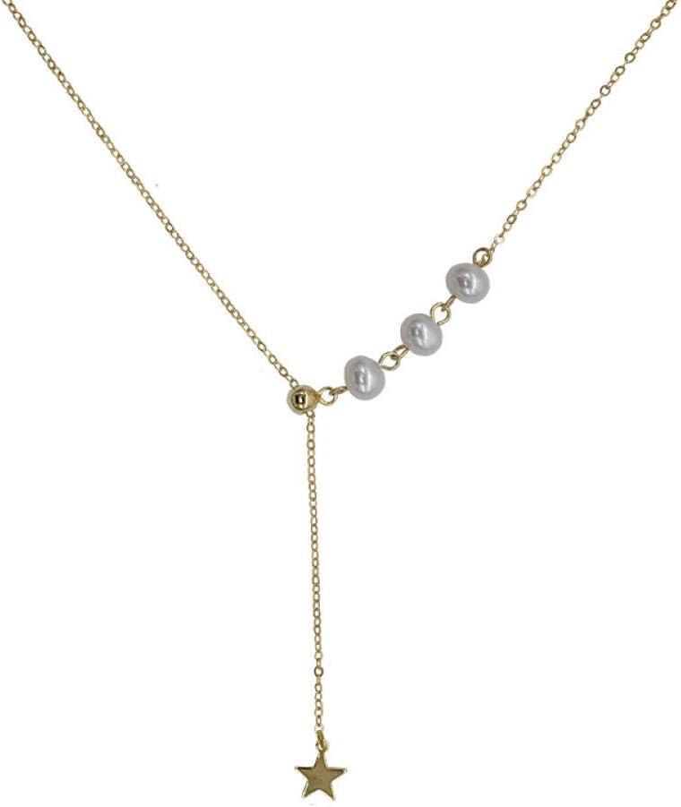 BAIMM Wild S925 Collar de Estrella de Perlas de Agua Dulce Natural con Cadena de clavícula de Estrella de Cinco Puntas Ajustable Joyería Elegante