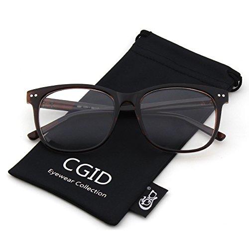 Happy Store CN81 Large Oversized Bold Frame UV 400 Clear Lens Horn Rimmed Glasses,Brown