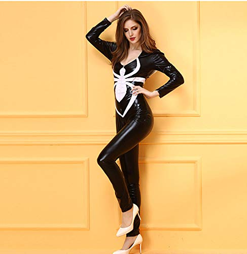 Cat Donna Look XSQR Black Clubwear Costume Halloween Wet Catsuit Sexy Pelle Woman 5w5SCXq