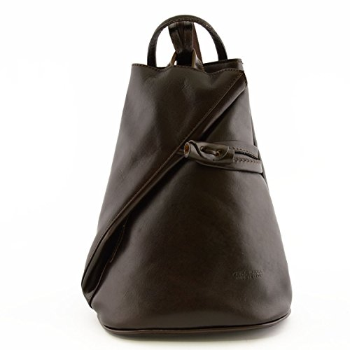 Tirantes Oscuro Echa Marrón Color En Bolso De Para Espalda Con Mujer Piel Verdadera Italia Cremallera Peleteria 7qH84x