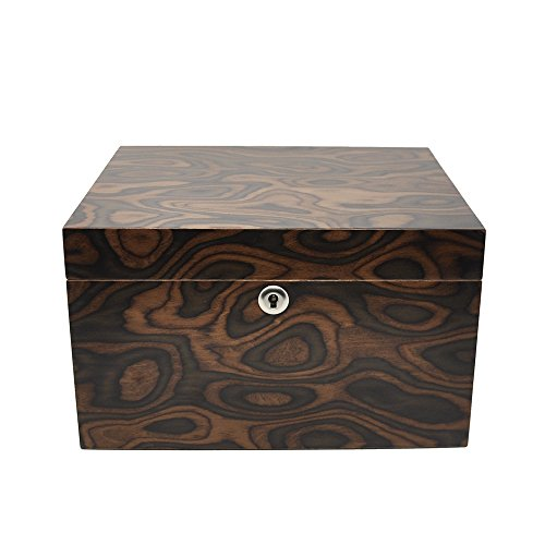 LOLIFUN Wood Cigar Humidor holds up to 50 cigars Size:270X240X160mm(10.6X9.45X6.3inch) with HYGROMETER, HUMIDIFIER AN-0851 by LOLIFUN