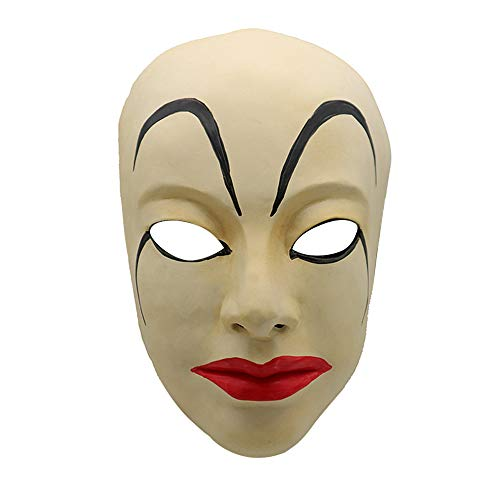 Stheanoo Scary Props Halloween Mask Realistic Women Masks Cosplay Costume Halloween Party Dress up Ghost Horror Simulation Face Shield for Teens, Men and -