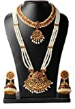 Fashion205 Multicolor Brass Pearl 3 Line Long Pearl Haram With Pendant And Short Necklace With Earrings Set for Women