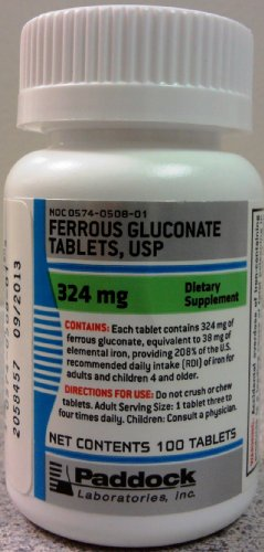 Special pack of 5 FERROUS GLUCONATE 324MG PADD 100 Tablets X 5