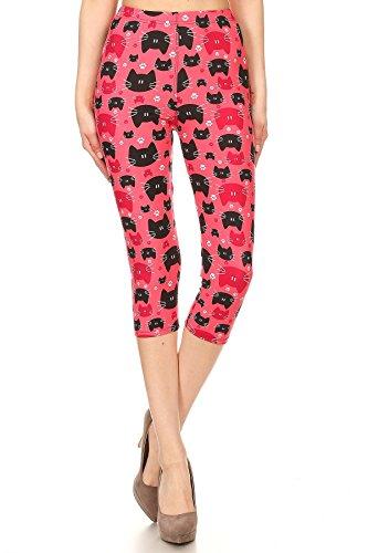 Cat Colorful (Women's Regular colorful Cat Faces Animal Printed Cropped Capri Leggings)
