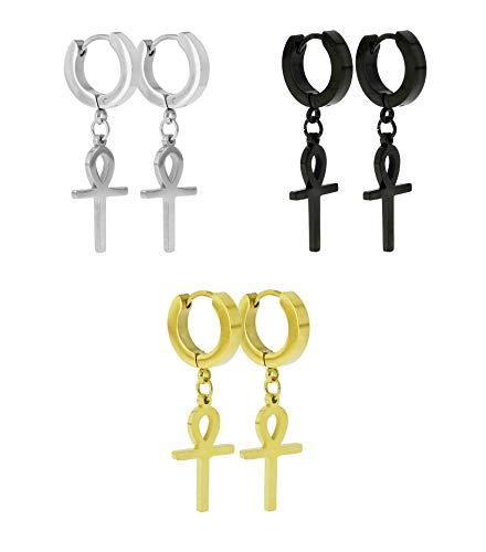 Stainless Steel Ankh Cross Dangle Hinged Hoop Earrings,Stainless Steel Hoop Huggie Earrings Egyptian Cross Drop Dangle Earrings (Silver, Gold, Black) (Black (1 Pair) Silver (1 Pair) & Gold (1 Pair))