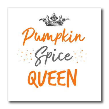 3dRose InspirationzStore - Typography - Pumpkin Spice Queen - Funny Coffee Latte Love in Autumn Fall Halloween - 10x10 Iron on Heat Transfer for White Material (ht_317293_3)]()