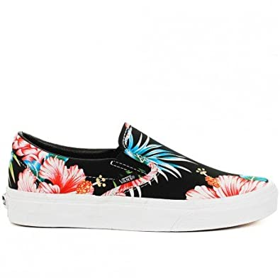 Basket Vans Classic Slip On Noir A Motif Fleur Hawaiennes Amazon Fr