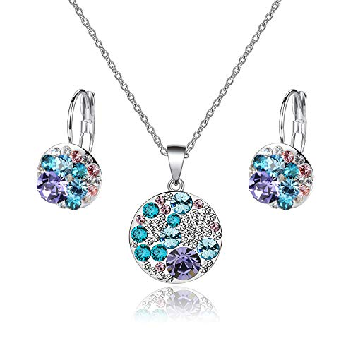 EVEVIC Swarovski Crystals Round Disc Pendant Necklace Earrings Set for Women Girls Gold Plated Jewelry Sets (Purple Main Crystal/Silver-Tone) ()
