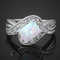 Aisamaisara Elegant Women 925 Silver White Fire Opal White Sapphire Wedding Ring Size 6-10 (10)