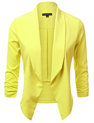 JJ Perfection Women's Lightweight Chiffon Ruched Sleeve Open-Front Blazer YELLOW M