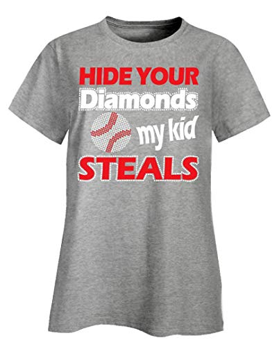 Hide Your Diamonds My Kid Steals Baseball - Ladies T-Shirt Ash Grey