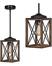 DEWENWILS Farmhouse Pendant Light, Metal Hanging Light Fixture with Wooden Grain Finish, 48 Inch Adjustable Pipes for Flat and Slop Ceiling, Kitchen Island, Bedroom, Dining Hall, E26 Base, ETL Listed