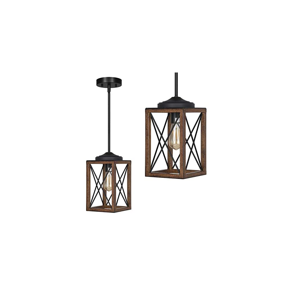 DEWENWILS Farmhouse Pendant Light, Metal Hanging Light Fixture with Wooden Grain Finish, 48 Inch Adjustable Pipes for…