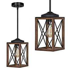 Farmhouse Ceiling Light Fixtures DEWENWILS Farmhouse Pendant Light, Metal Hanging Light Fixture with Wooden Grain Finish, 48 Inch Adjustable Pipes for… farmhouse ceiling light fixtures