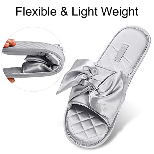 RGFSTUDIO Women's Open Toe Slide Slippers, Ladies' Slip-on House Shoes Spa Mules Sandals with Indoor Outdoor Anti-Skid Rubber Sole