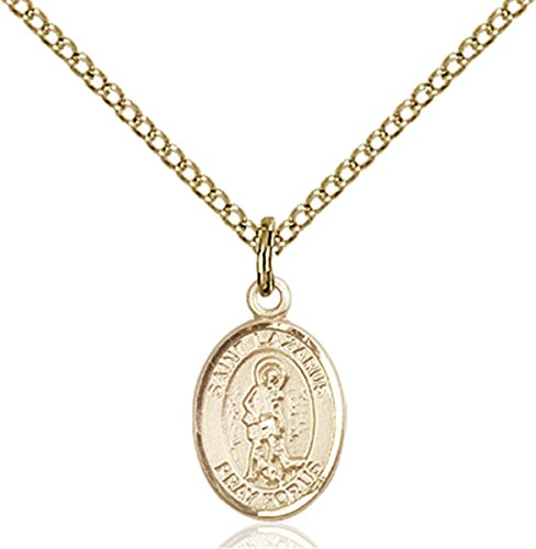 Patron Saints by Bliss 14K Gold Filled Saint Lazarus Petite Charm Medal, 1/2 Inch ()