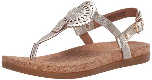 (UGG Women's Ayden II Metallic Flat Sandal, Gold, 10 M US)