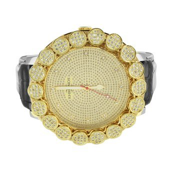 Flower Bezel Khronos Diamond Watch Gold Finsh Leather Band Designer Mens New - 4341 (14k Gold Watch Leather Strap)