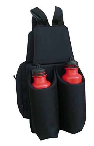 AMKA Satteltasche Doppelpacktasche mit 2 Getränkeflaschen, getrennt oder einzeln nutzbar robustes Nylonmaterial schwarz