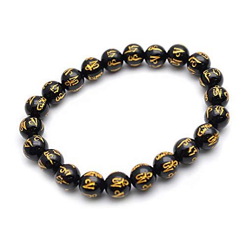 Black Agate Bracelet Carved (Buty-Bzi Carved Words Om Mani Padme Hum Natural Black Onyx Agate Round Beads Stretch Bracelet Fashion Talismanic Jewelry)