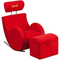 Flash Furniture Personalized Hercules Series Fabric Rocking Chair with Storage Ottoman, Red