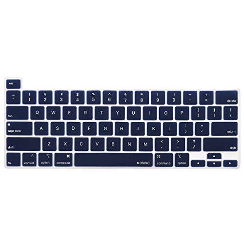 MOSISO Keyboard Cover Compatible with 2020 MacBook Pro 13 inch A2289 A2251 & 2019 MacBook Pro 16 inch A2141 with Touch ID & Retina Display, Protective Silicone Skin, Navy Blue