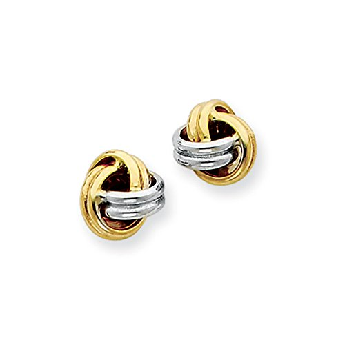 7mm Two Tone Love Knot Earrings in 14k Gold and Rhodium
