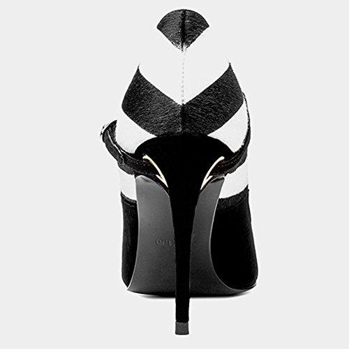Zapato Alto YIXINY De La Sra Cinturón Boca Talón Y Moda Tamaño Cuero Del Tacón EU39 UK6 Profundo Hebilla Otoño Mezclados Negro Zapatos Poco ZLSD18C005 tacón Zapatos De Primavera de CN Fine Colores pPxwqrT1p