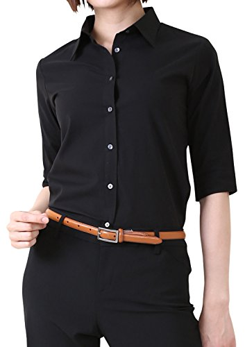 LEONIS Women's Premium Stretch Easy Care 1/2 Sleeve Classic Fit Shirt Black (S [4]) [ 42073 ] Collared Button Down Work Workwear Office Business Blouse Tops Non Iron Wrinkle Free - Jobs Outlets Premium