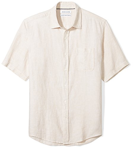Amazon Essentials Men's Regular-Fit Short-Sleeve Linen Shirt, Natural, X-Large ()