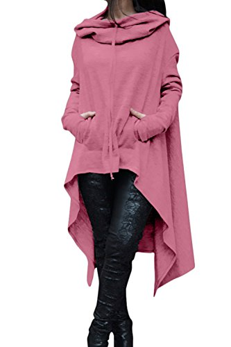 Zilcremo La Mujer Otoño Casual con Capucha Manga Larga Pullover Sudadera Plus Tamaño Midi Asimétrica: Amazon.es: Ropa y accesorios