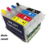 4 Empty Chipped Refillable Auto reset ink Cartridges for Epson