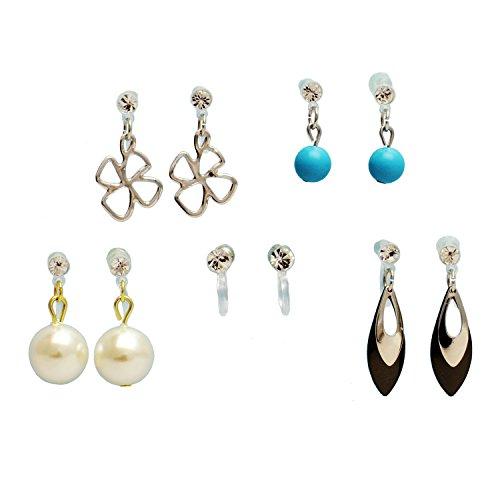 [해외]Blau krone 피어 싱 같은 귀걸이 5 종류 세트 여성용 비 홀 피어 싱 플라스틱 패스너 아파요 곤란 떨어졌다 ブラウクロ?ネ / blau krone earrings like earrings 5 kinds set Ladies non-hole earrings resin fasteners hard to fall hard to fall